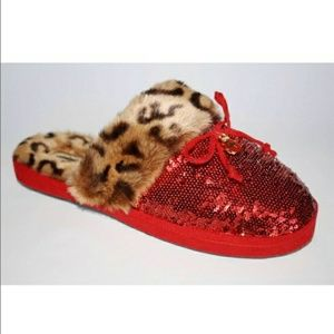 Michael KORS Red sequin cheetah Slippers